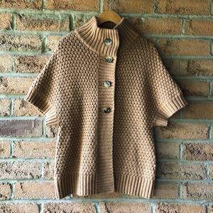 BANANA REPUBLIC | Brown short sleeve button up cardigan knit fall sweater